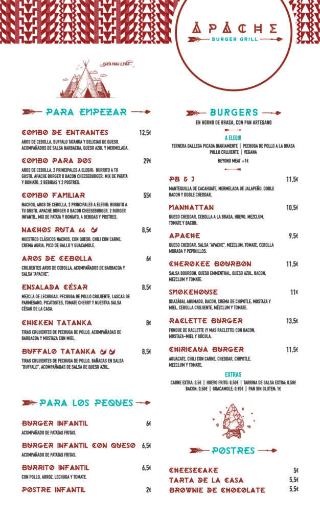 Carta Apache Burger Grill